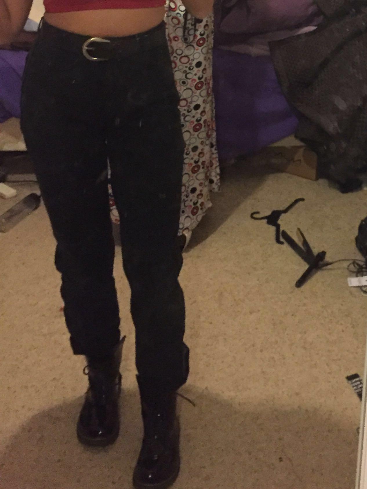 Black vintage boyfriend mom style straight leg high waisted jeans