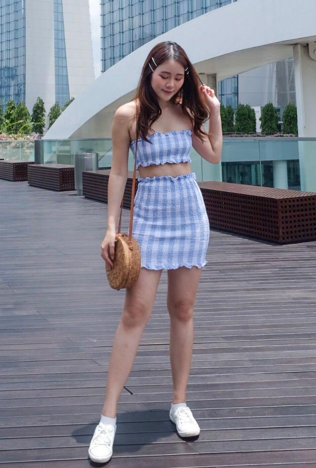 Blue Gingham Two Piece Set