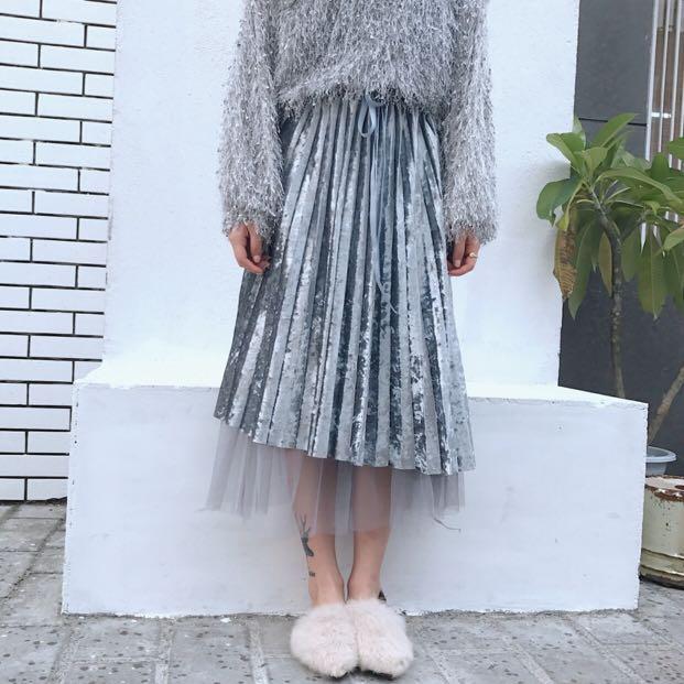 Blue grey velvet & veil midi skirt