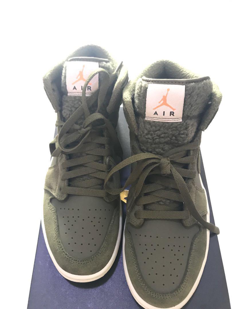 f77b48dc623 Bnib Nike air Jordan 1 mid retro vintage olive shoes USA8.5 leather ...
