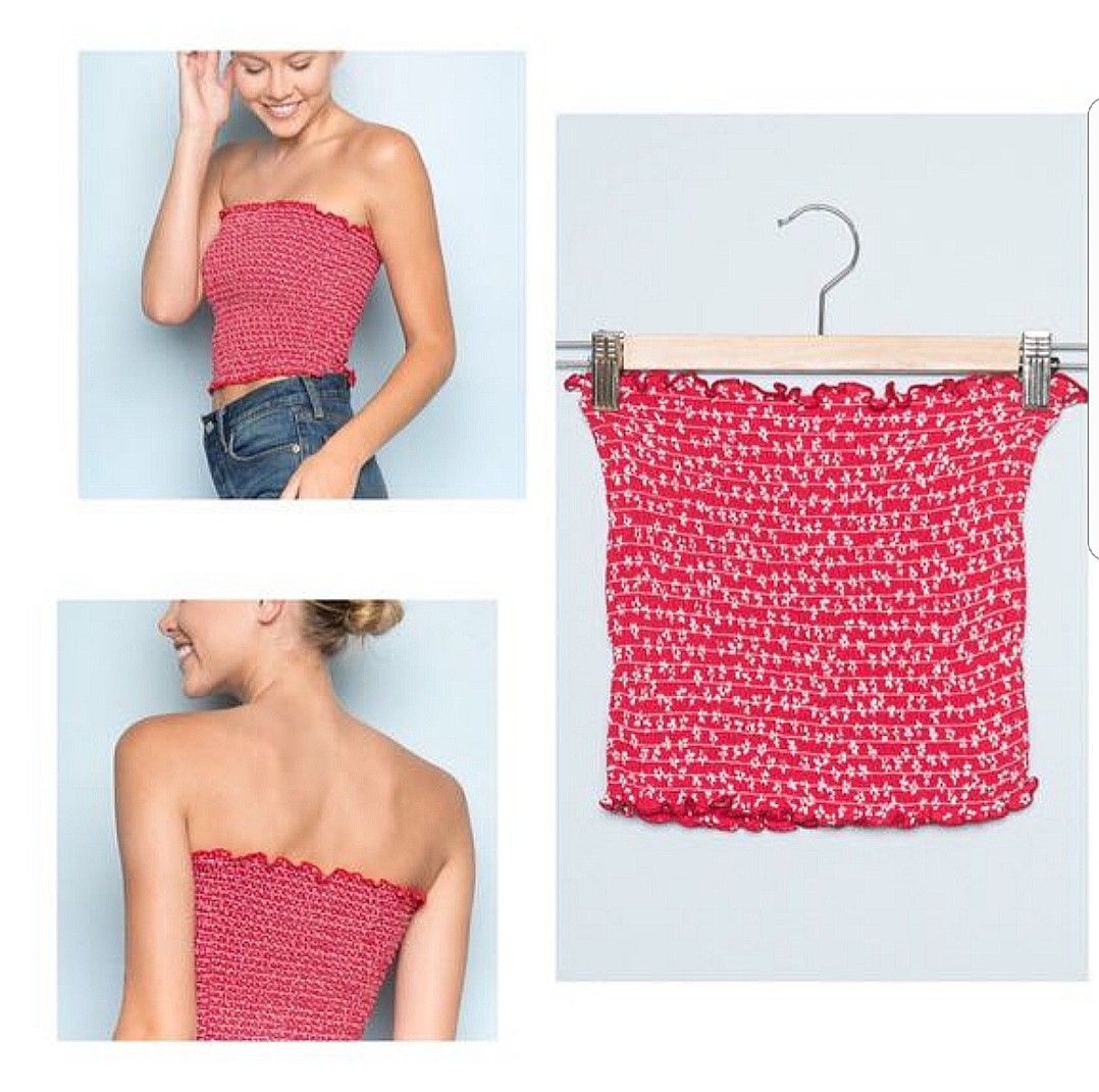 498ab6fb95f BNWT brandy melville Red floral cleo tube top