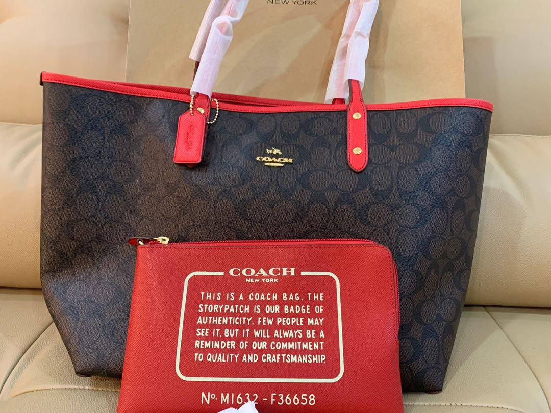 Coach Reversible Tote 36588 in chilli red