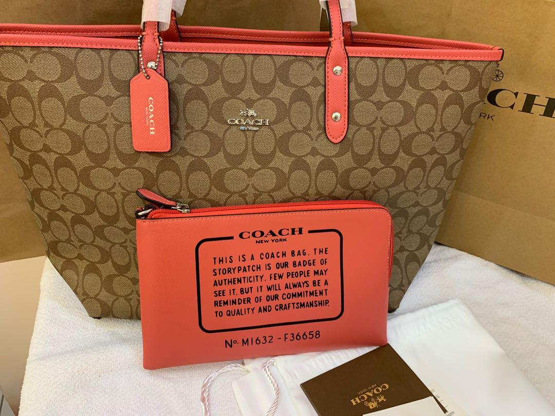 Coach Reversible Tote in pink 36588