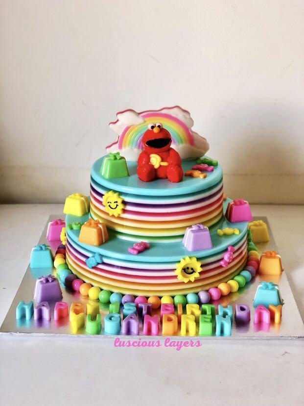 Elmo 2 tiers jelly cake