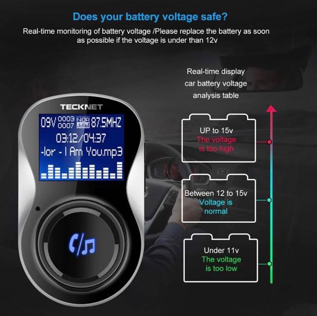 FM Transmitter Bluetooth,TeckNet Car MP3 Player Bluetooth Handsfree Car Kit  Wireless Radio Audio Adapter with Dual USB Charger 5V 3 4A, 1 44 Inch LCD