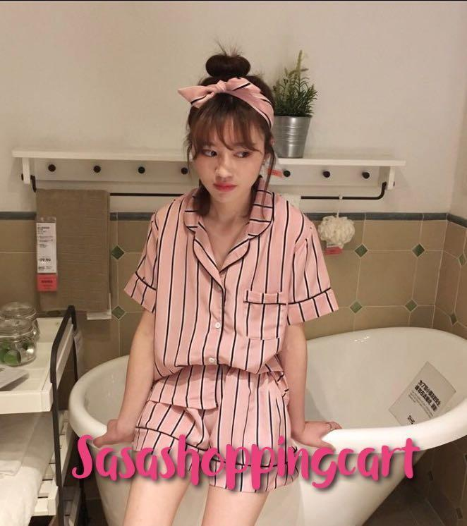 😆FREE SHIPPING* under 500g😆 Spring and summer new stripes short-sleeved pajamas + shorts suit wild ladies home leisure three sets of tide