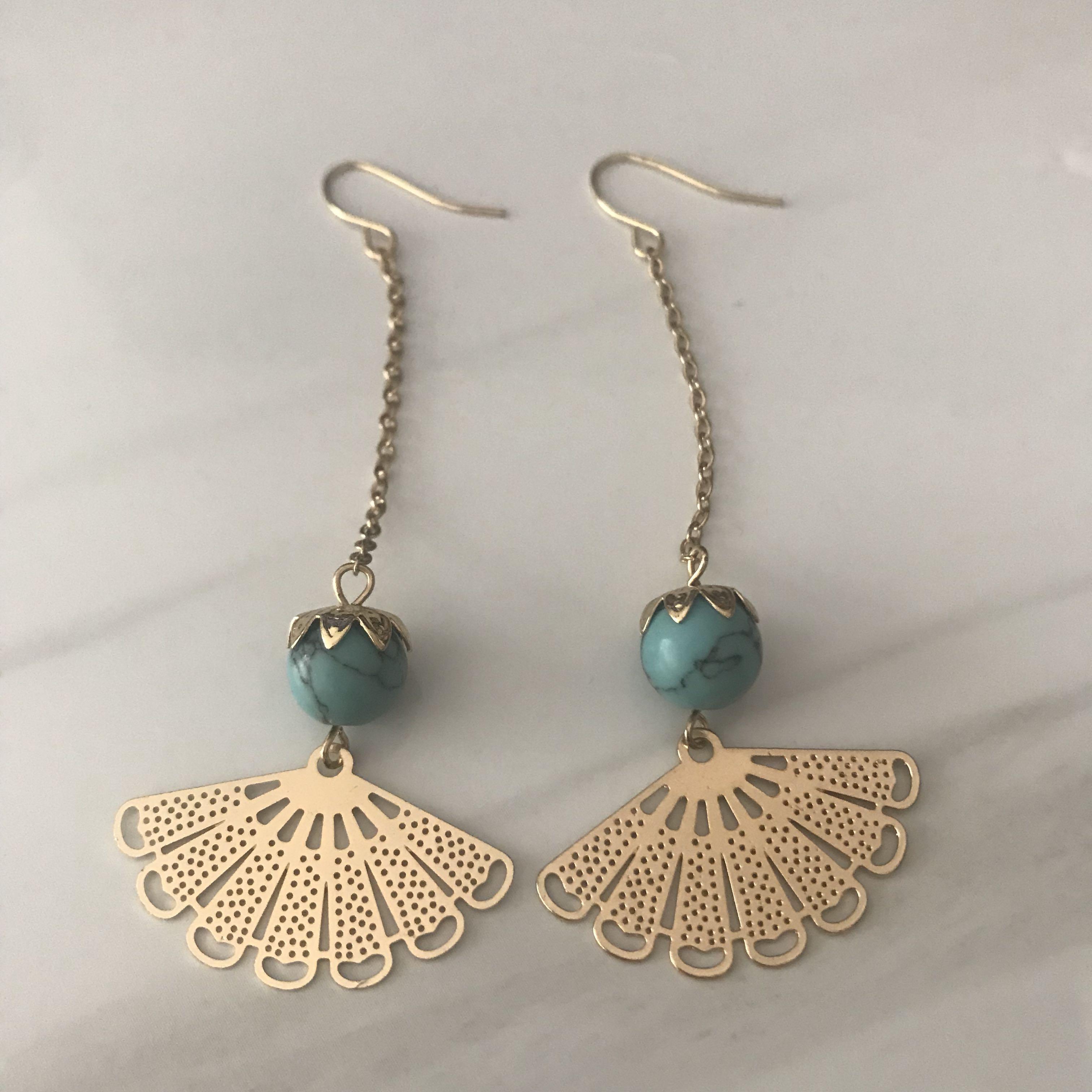 😆FREE SHIPPING😆(Gold) Vintage fan earrings Korean temperament long tassel earrings pendant
