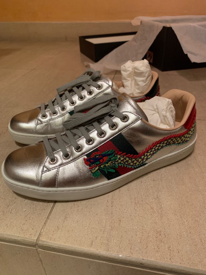 0cedac5c2 Gucci Ace Sneakers Dragon Embroidered (Silver), Men's Fashion ...