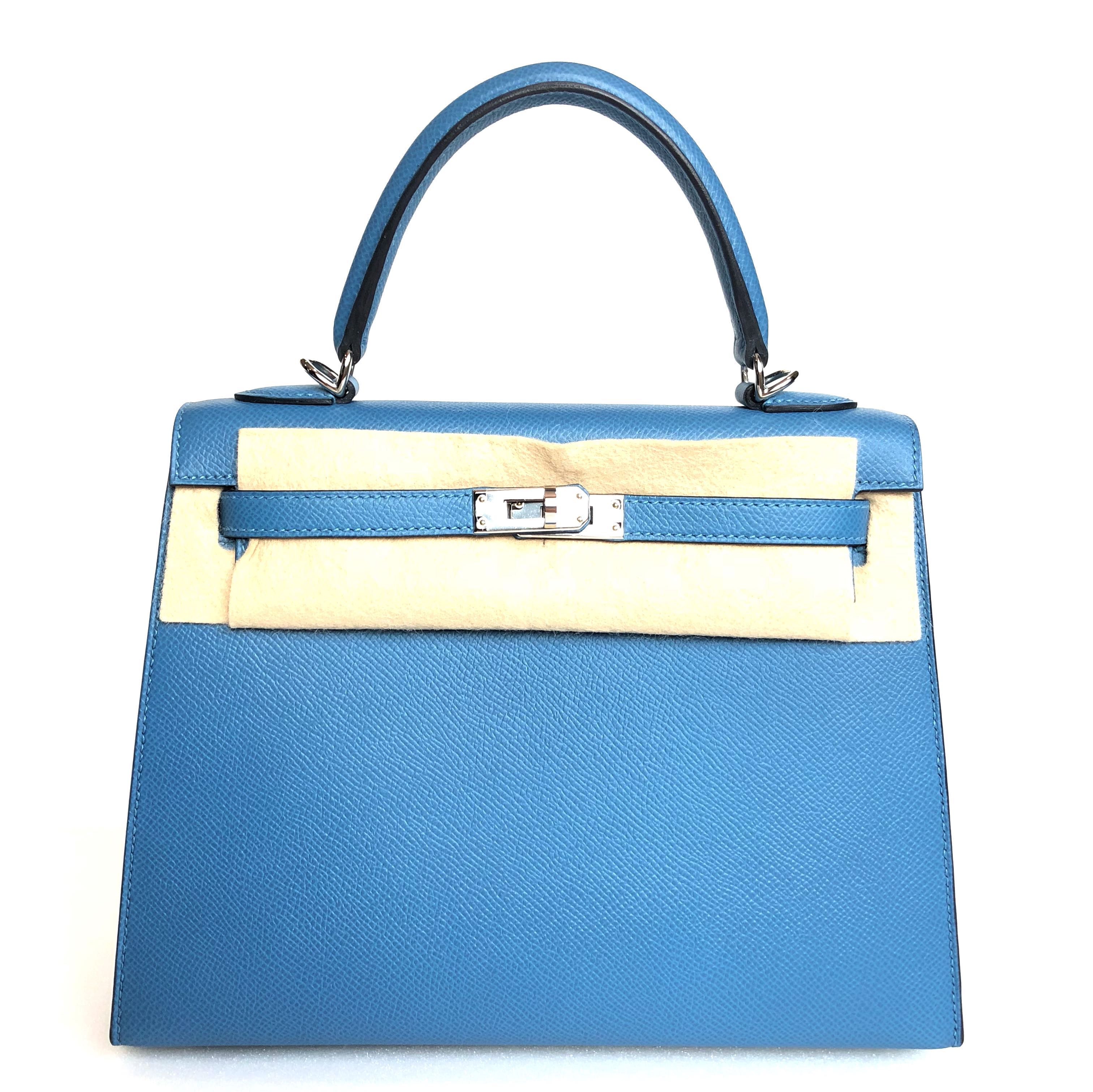 87aac23e03d Hermes - Blue Azure Kelly 25 Sellier in Veau Epsom with PHW