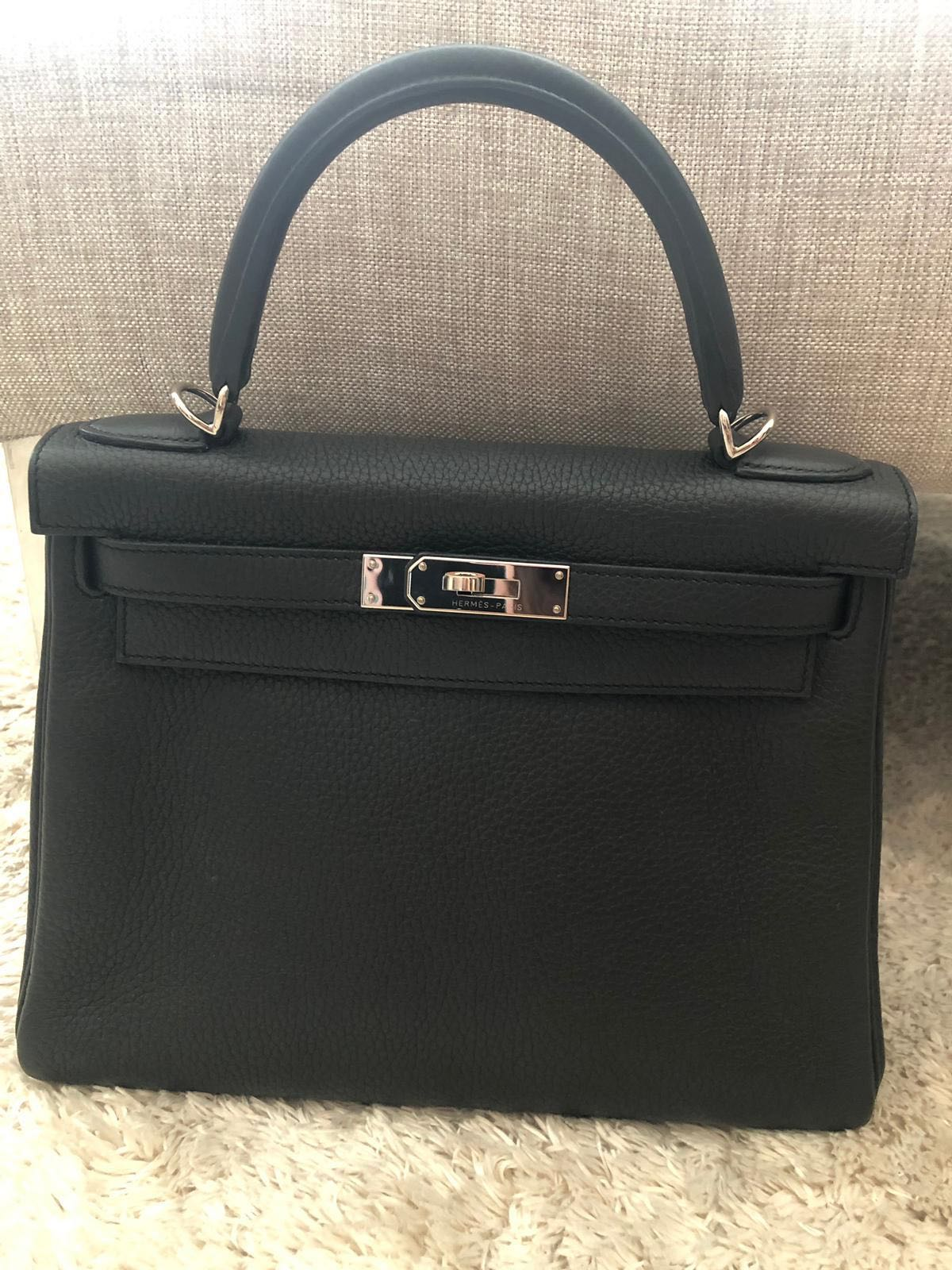 73017051090a Hermes Kelly 28 retourne in Plomb PHW  T Clemence