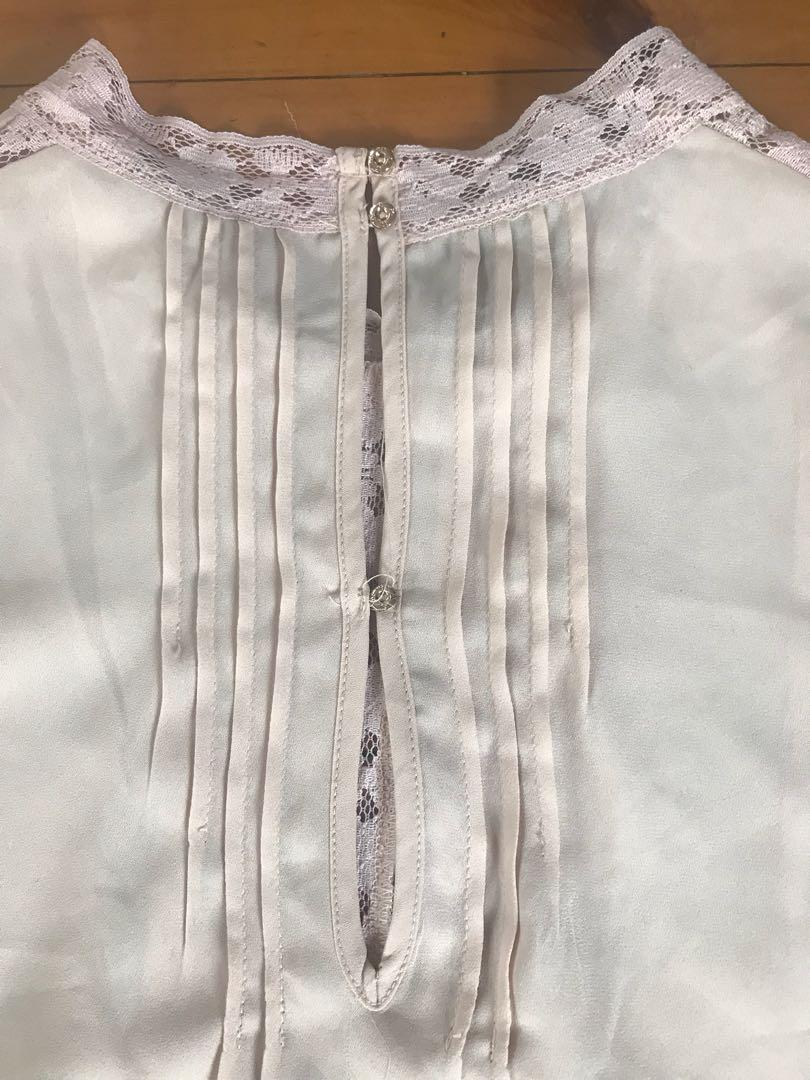 Kardashian collection Victorian style blouse nude size 12