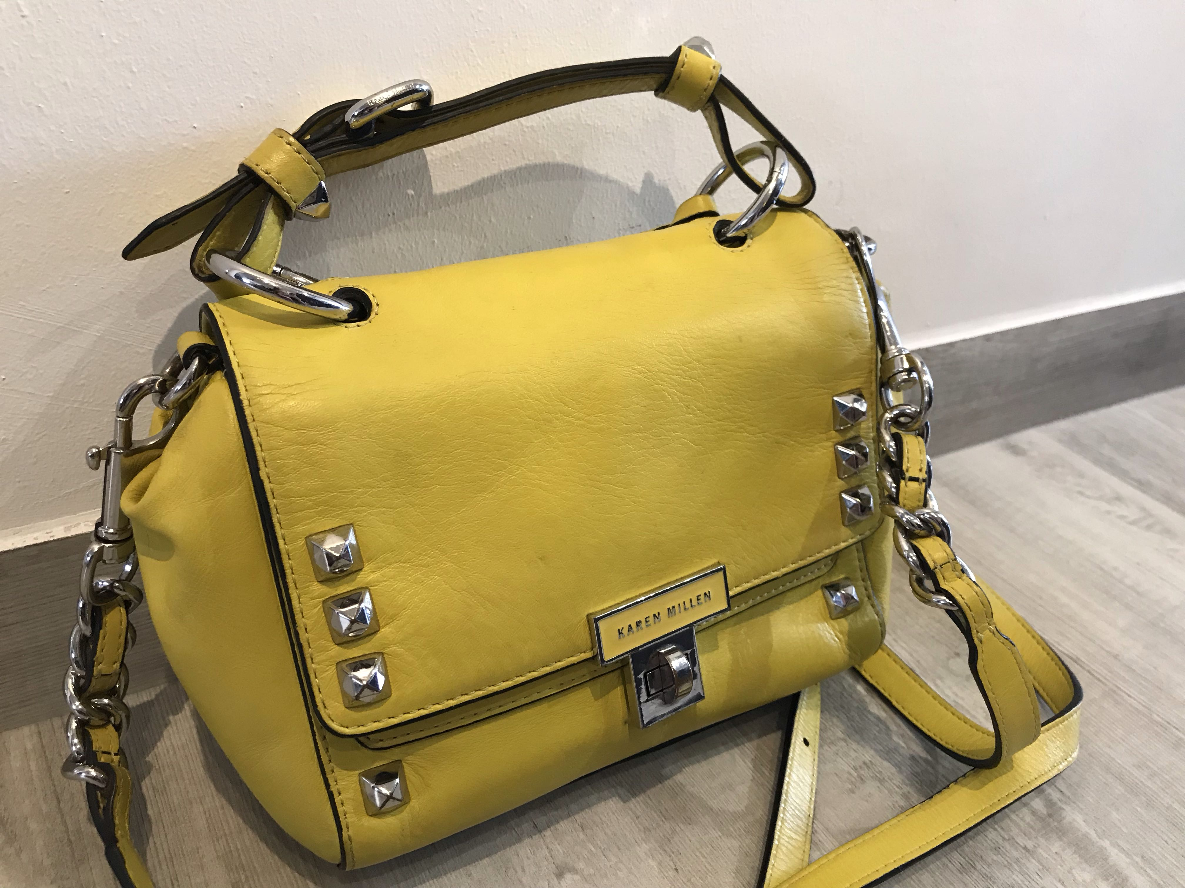 bb97357eba Karen Millen women's yellow mini Satchel with enamel turnlock/ lemon ...