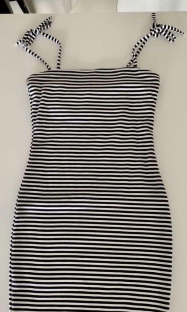 Kookai Stripe Tie Strap Dress in Size 1 Black and White