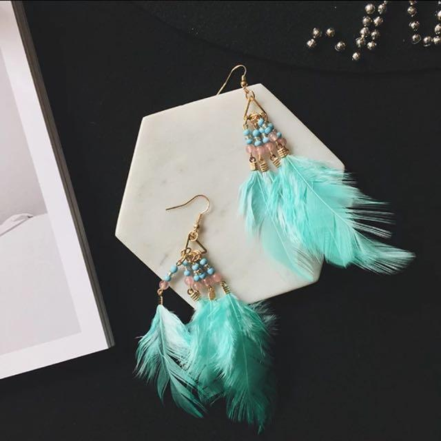 Korean national style vacation style color beaded feather pendant earrings