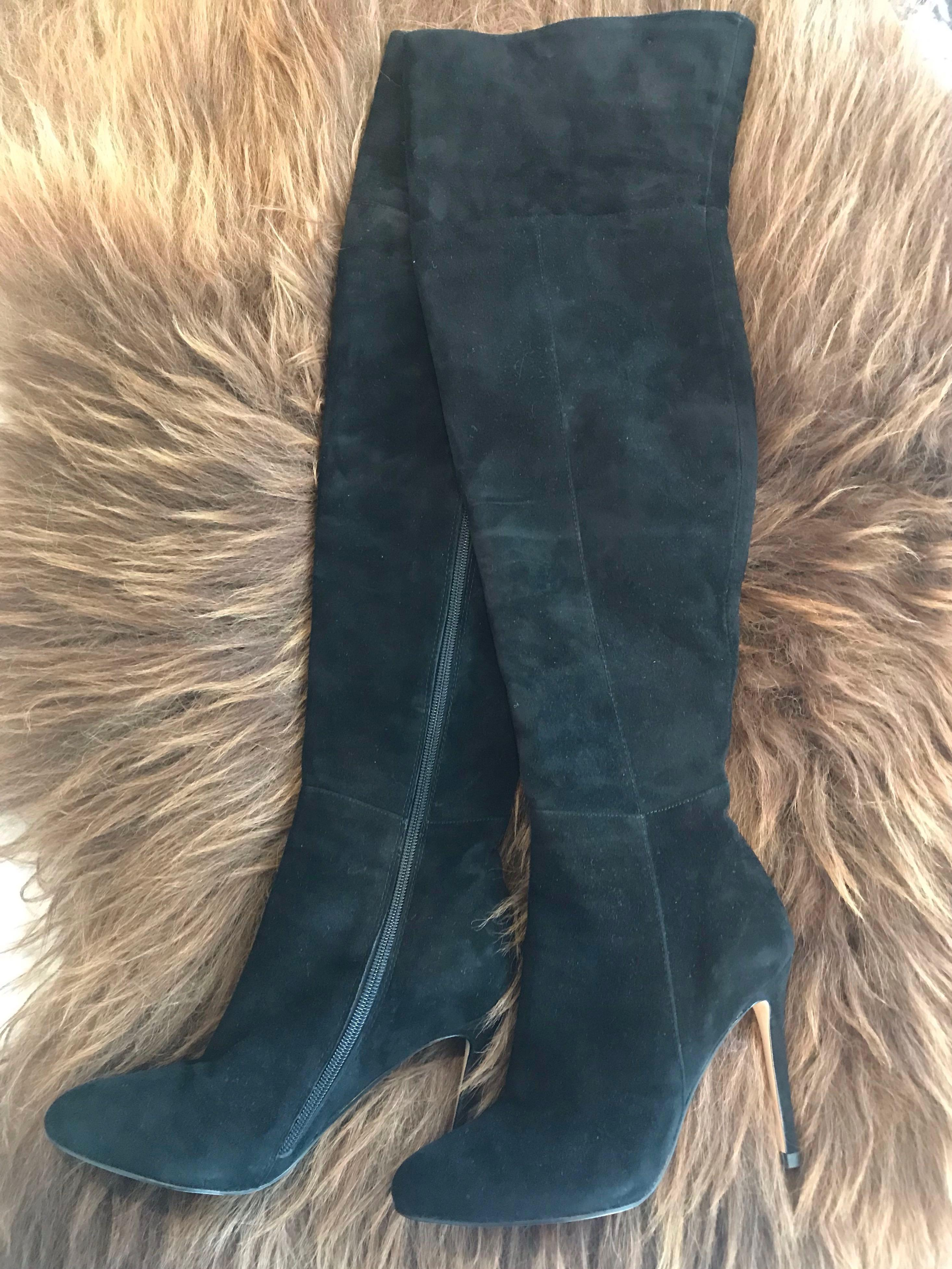 Mansion thigh high black leather suede boots size 37