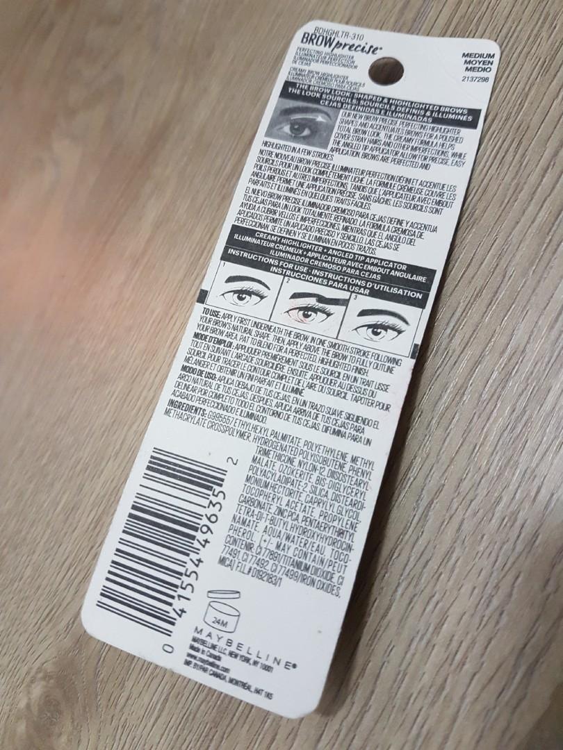 39eb2b4813b Maybelline Brow Precise Perfecting Highlighter 310 Medium, Health ...