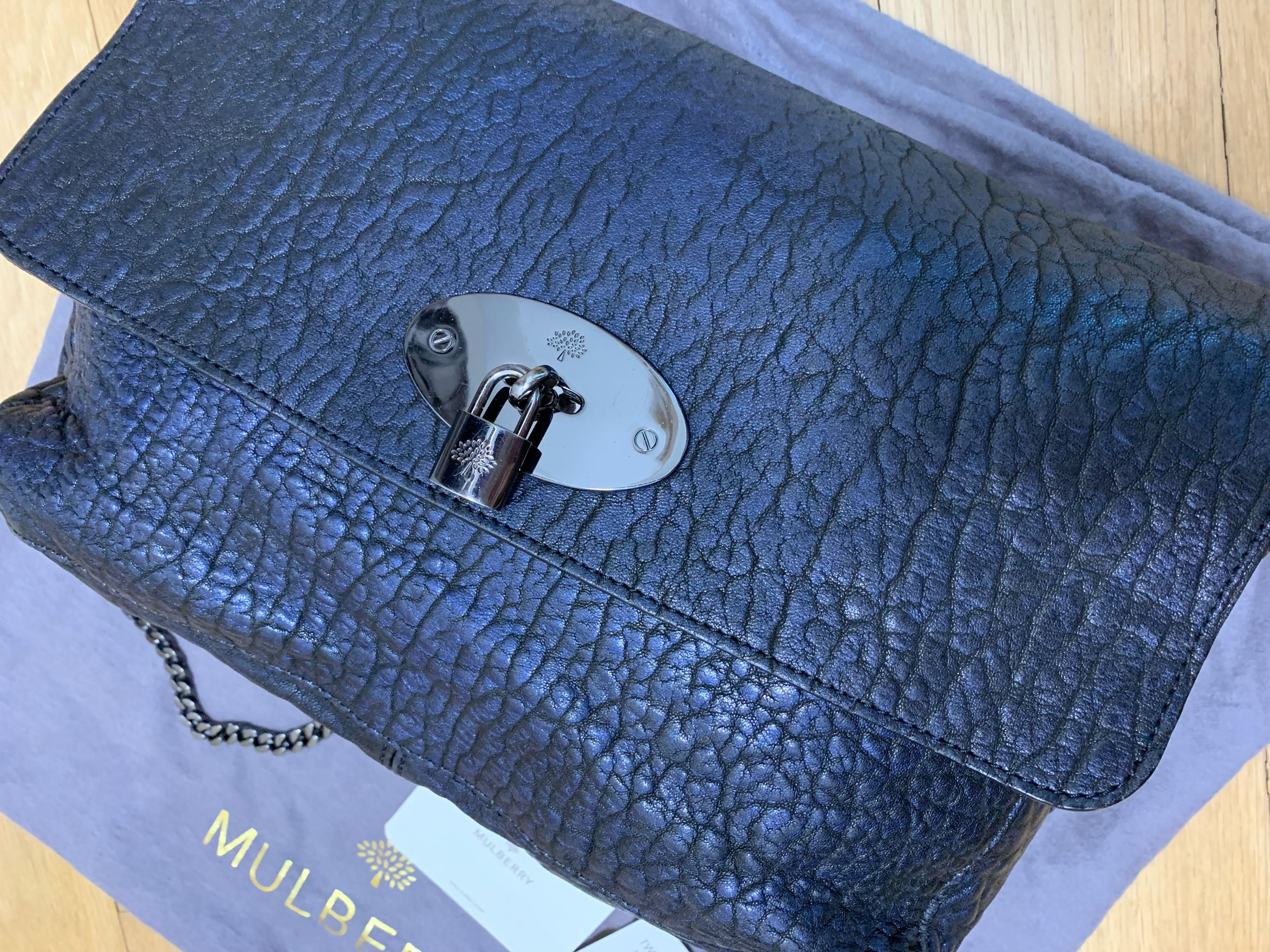 6e7f3a82ae Mulberry Lily Metallic Navy Two tone lambskin handbag bag (like bayswater)  on Carousell