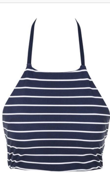Navy Blue and White Striped Halter Neck Tie Strap Bikini Top - REVERSIBLE