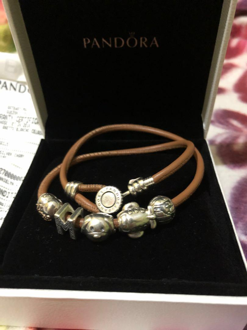d098a00d0 Pandora Moments Double Leather Bracelet Golden Tan With Charms On Carousell