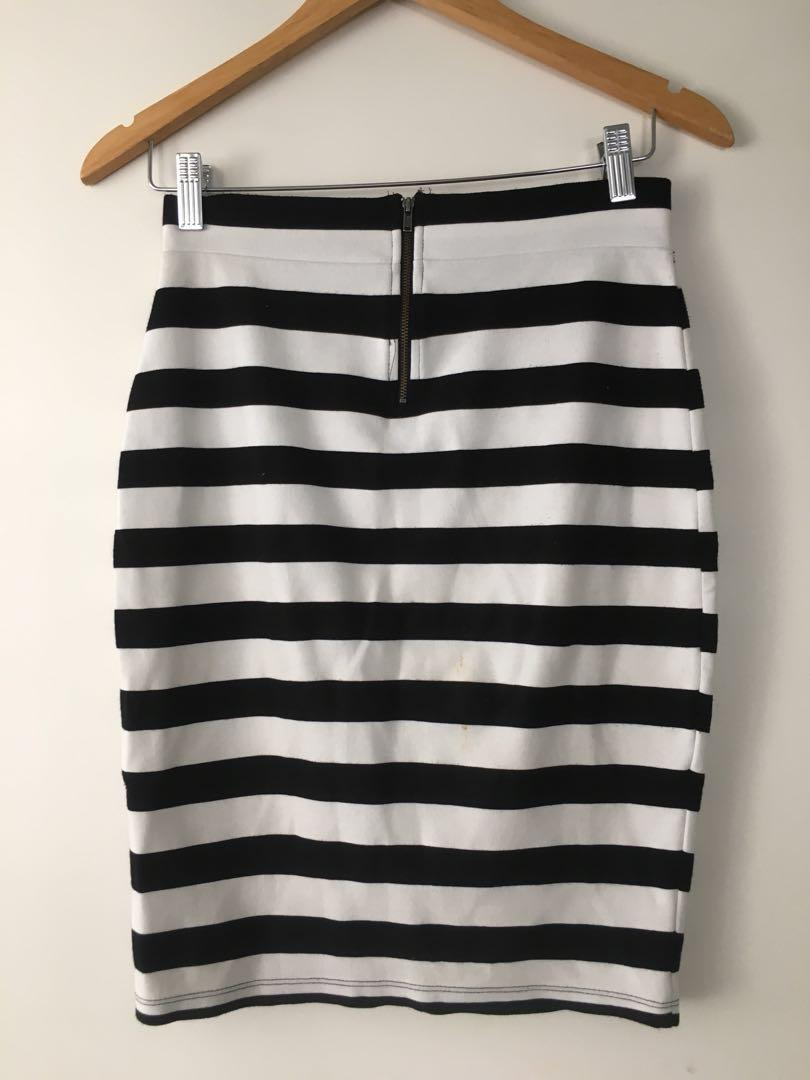 $5 SALE Portman's stripe midi pencil work skirt - Sz S