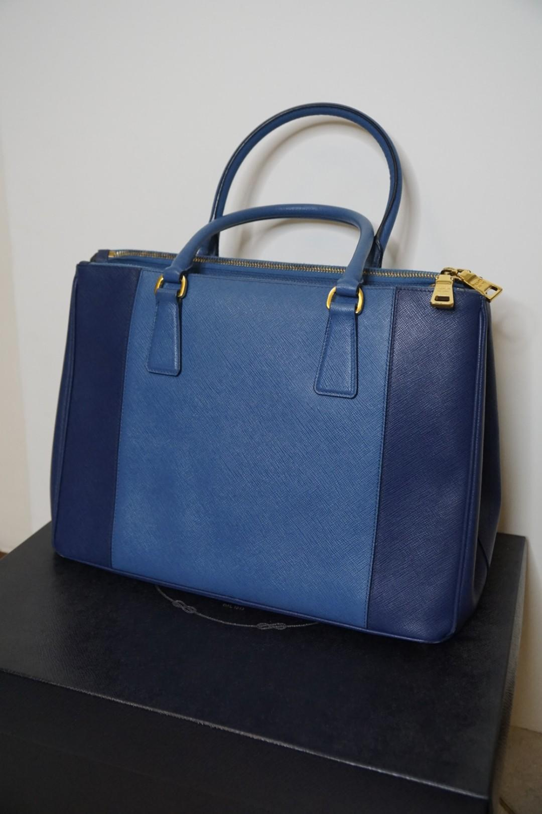 Prada Saffiano Bicolor Medium Double Zip Tote (Bluette Cobalto)