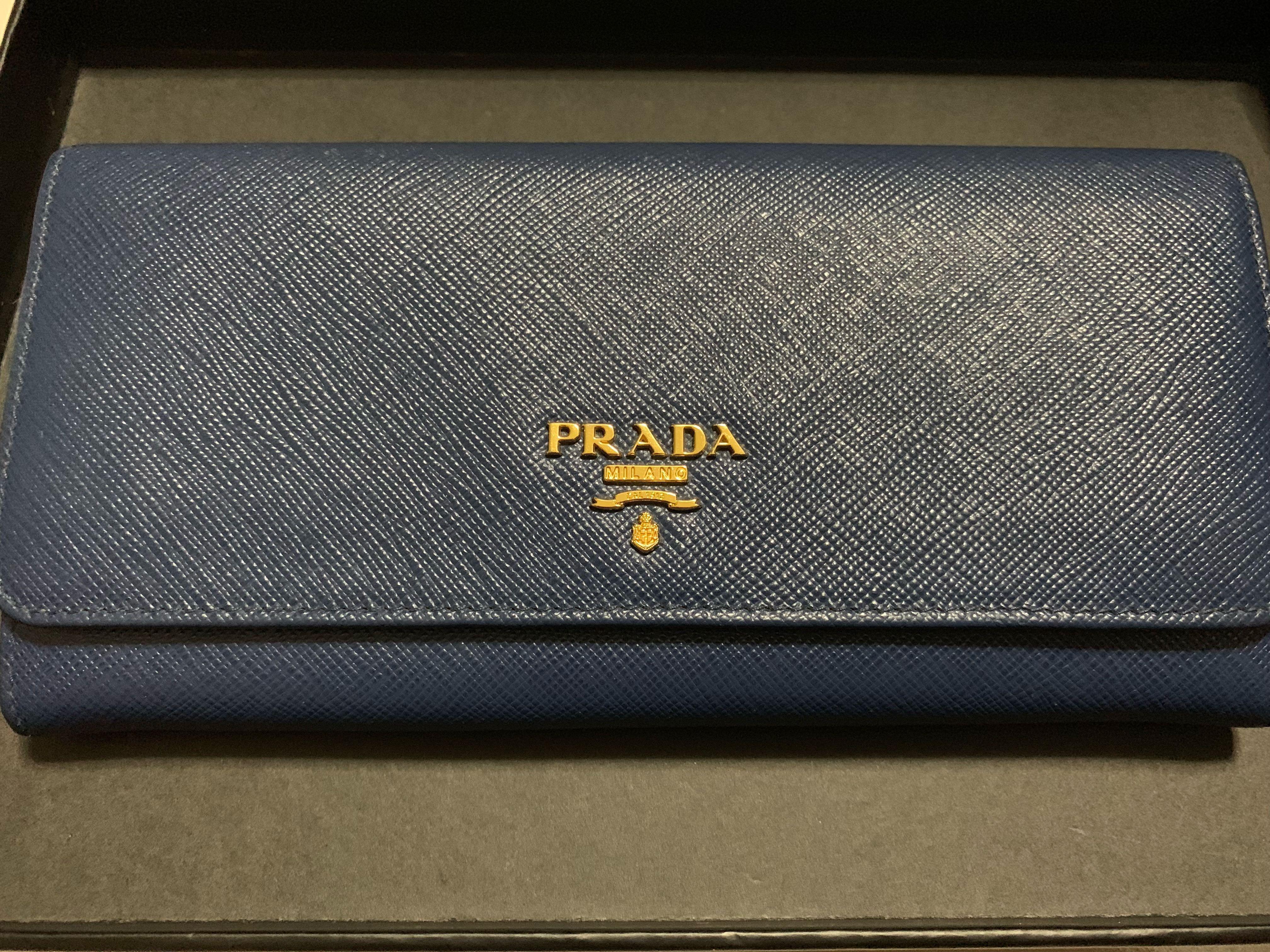 272f0112796f Prada Saffiano Metal Wallet (Bluette), Luxury, Bags & Wallets ...