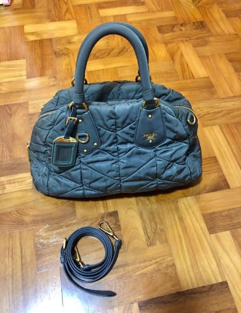 792c2f35b909 Prada Tessuto Chevron Quilted Dome Nylon Satchel Bag, Luxury, Bags ...