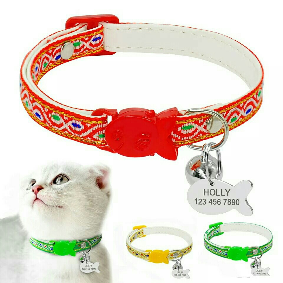 fee0fb1e006e Pre-Order] Quick Release Cat Dog Collar With Bell Personalized ID ...
