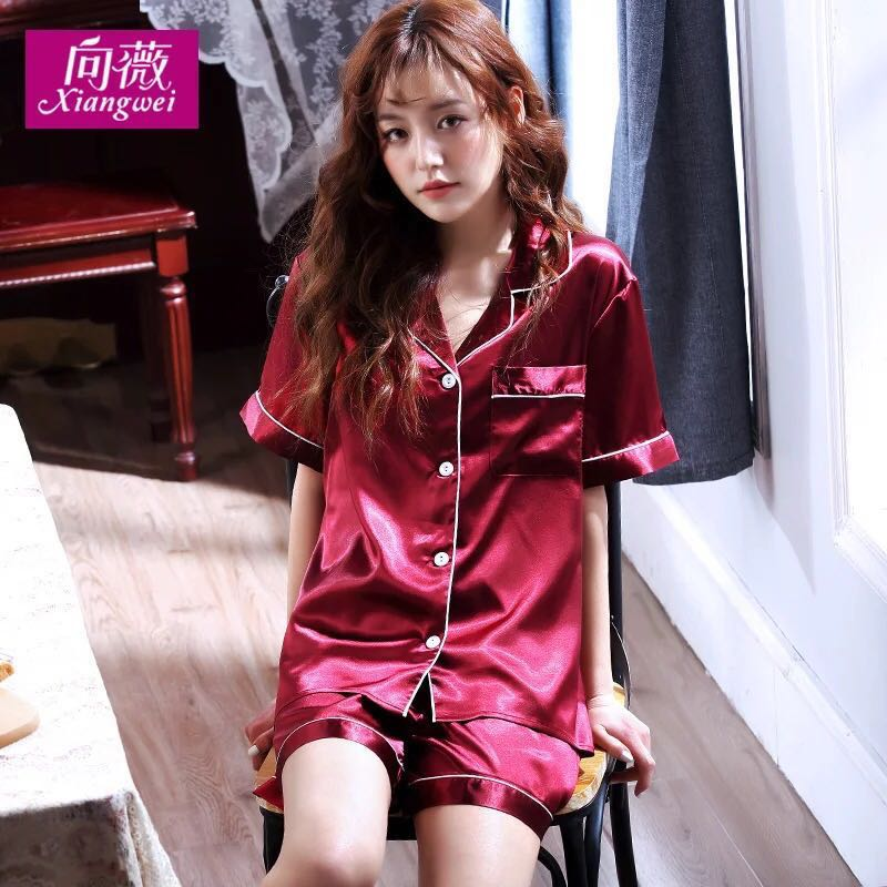 e56445f2af5b5 Pyjamas women summer short sleeved silk sexy summer women thin large size  home wear two sets of ice silk shorts suit