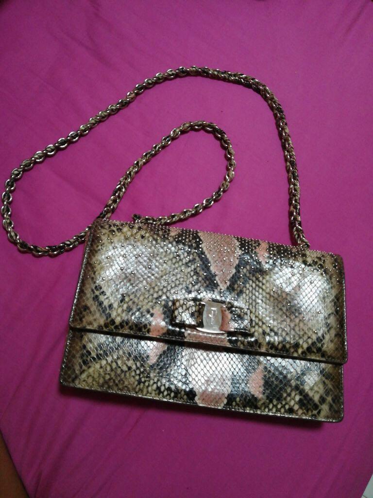 27b8efb9c651 Salvatore Ferragamo Python Snake Skin Handbag (US LIMITED)