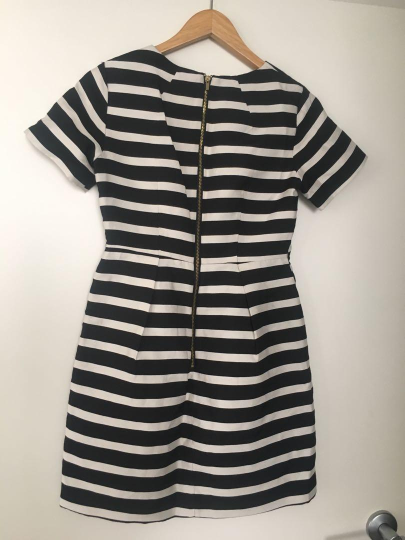 $10 SALE Structured stripe work dress - Sz 36 / AU 6-8