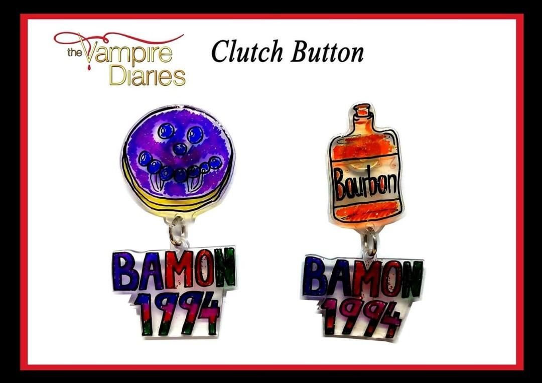 The Vampire Diaries Fanmade Button (Damon & Bonnie) Set 2