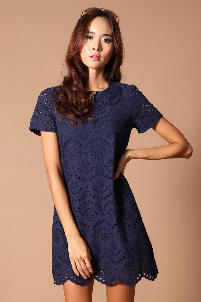 7309c536cef8 TSW Eyelet Crush Shift Dress Crochet in Navy Blue
