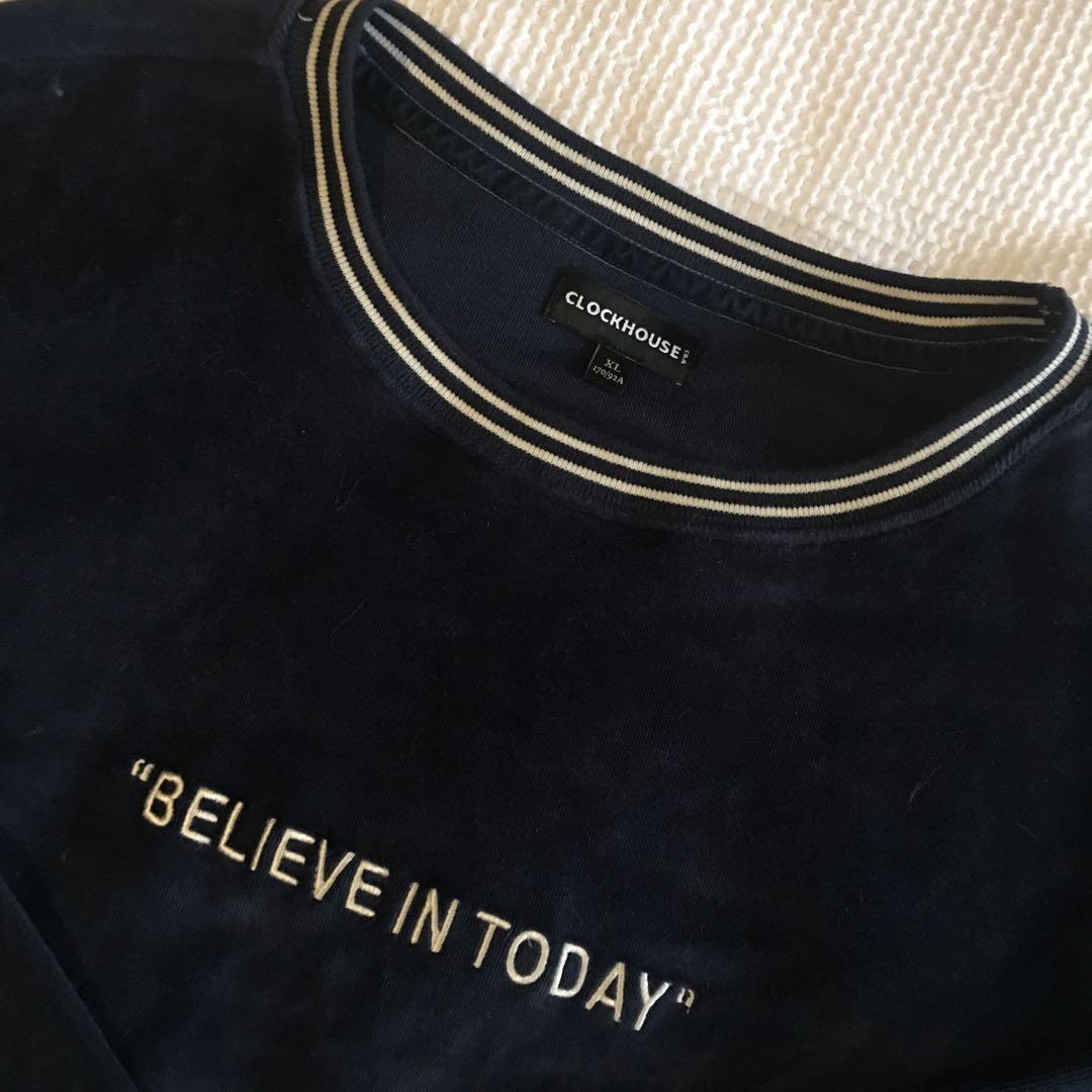 Velvet navy slogan sweatshirt