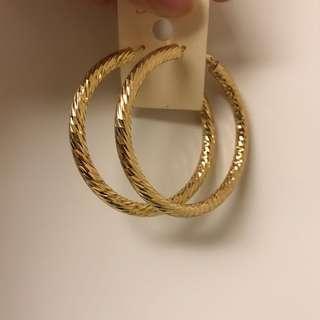 🚚 歐美 嘻哈風 金色大圈圈耳環