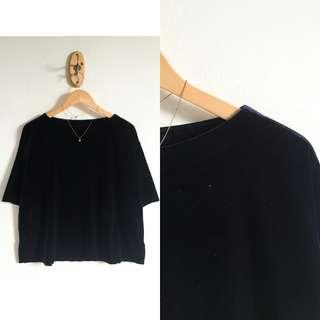 Uniqlo Velvet Victorian Deep Sea Top