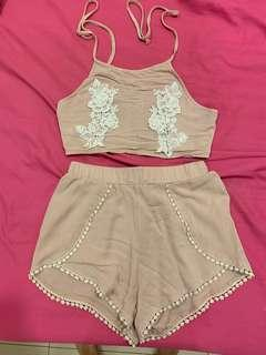 Laced crop top and shorts set