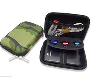 "Camo case cover storage for hard disk 2.5""/usb cable , power bank storage"