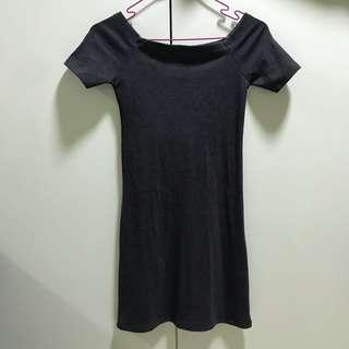 Grey Off Shoulder Ribbed BodyCon Dress