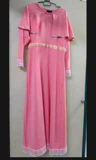 [free post sm] Pink Rose Cape Dress Jubah Dinner Event by Anneyep