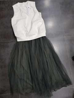 🚚 White and grey mesh dress