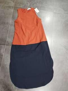 🚚 BNWT allwouldenvy brown n navy slip dress size s