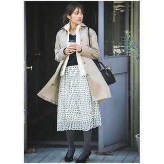 🚚 Uniqle白色藍綠方塊花紋夢幻百摺裙
