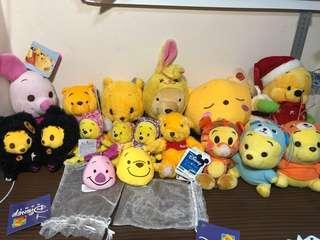 Disney / Disney Sega Winnie The Pooh Set Plush Toy / Soft Toy (Plush Toy Keychain)