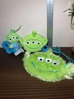 Disney / Disney Sega Toy Story Three Eye Alien Little Green Men Set Plush Toy / Soft Toy (Plush Toy Keychain)