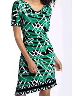 🚚 New BCBG EMERALD GREEN PRINT JERSEY DRESS