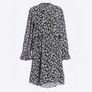 J Crew New Drapery Dress in black and white floral print