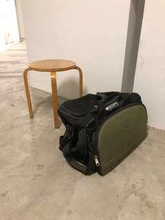 $3.50 big bulky travel bag , with 2 wheels , can store lots of stuff