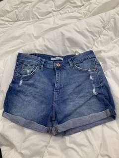 Bershka dark wash distressed denim shorts