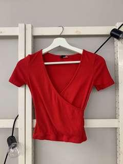 H&M red wrap top
